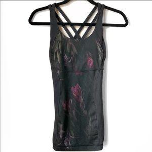 Lululemon black floral tank top